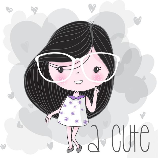 Симпатичная девушка рисованной иллюстрации Premium векторы