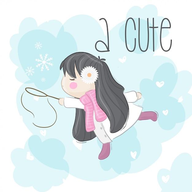 雪の結晶を持つ少女 Premiumベクター