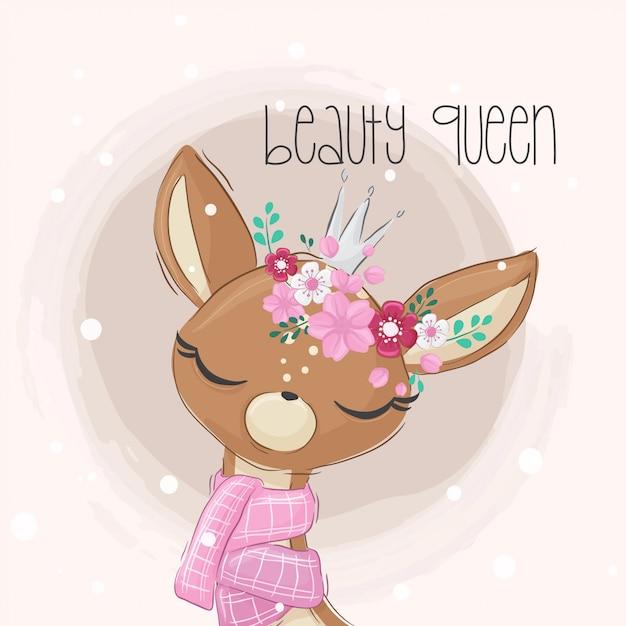 花と漫画かわいい鹿の女の子 Premiumベクター