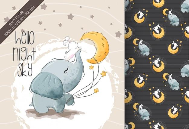 シームレスパターンとかわいい小さな象のバニー Premiumベクター