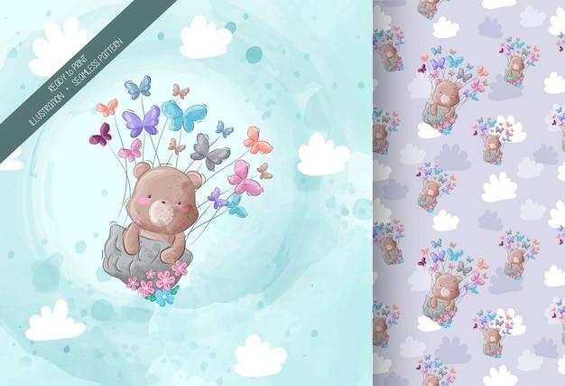 Милый медведь летит с бабочкой Premium векторы