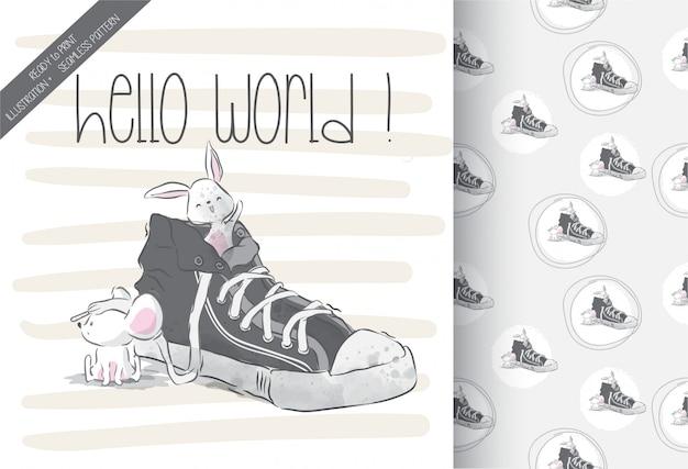 シームレスパターンの靴にかわいい赤ちゃんマウス Premiumベクター