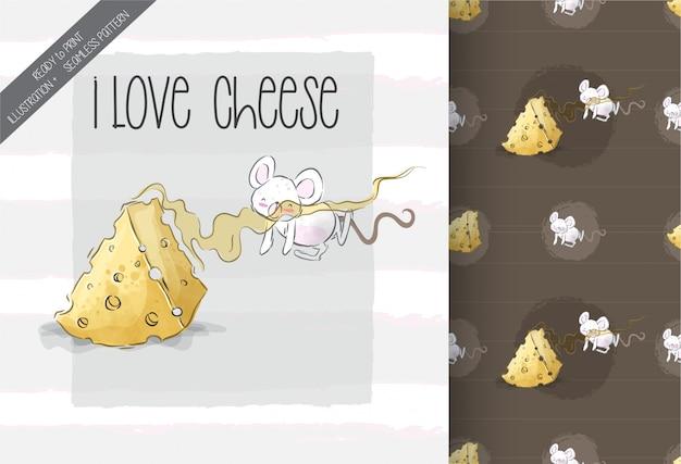 Милый ребенок мышь прекрасный сыр бесшовный фон Premium векторы
