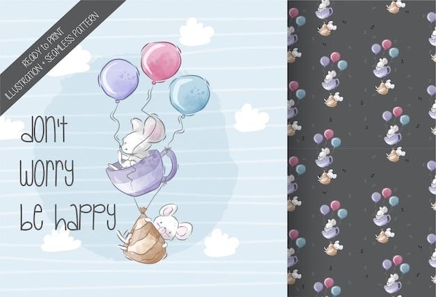 Картина милой иллюстрации летания мыши младенца безшовная Premium векторы