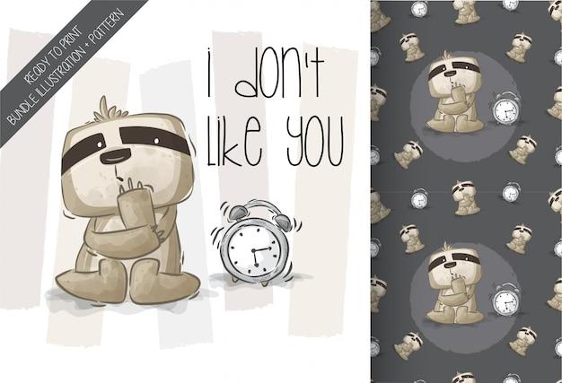 Симпатичные ленивец с будильником бесшовные модели Premium векторы