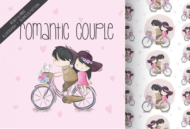 Мультяшный милая пара ездить на велосипеде бесшовный фон Premium векторы