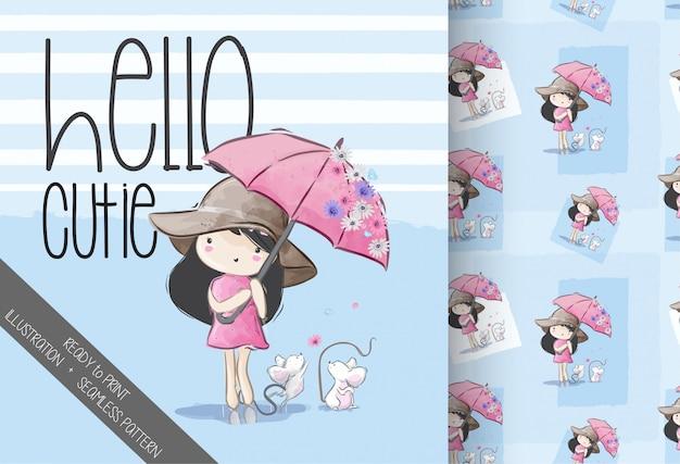 Мультяшный милый зонтик девушка бесшовный фон Premium векторы
