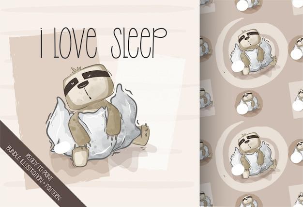 Мультяшный милый ленивец счастливый сон бесшовный фон Premium векторы