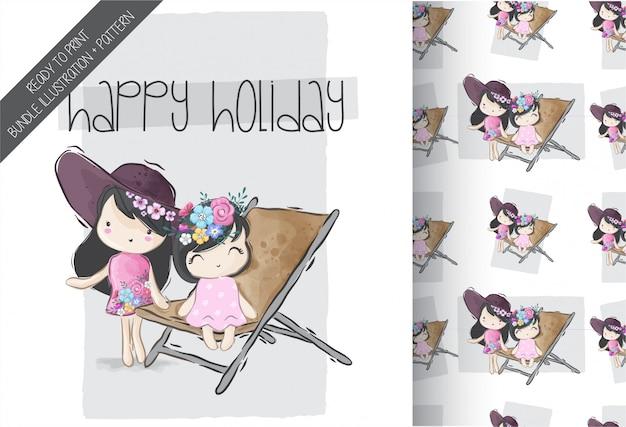 Мультяшный милые девушки счастливое лето с бесшовный фон Premium векторы