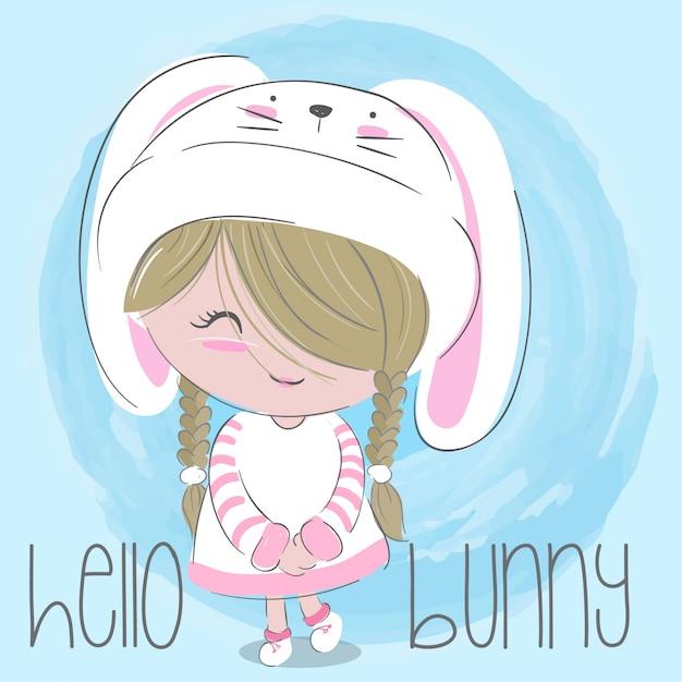 かわいい女の子手描き子供イラスト - ベクトル Premiumベクター