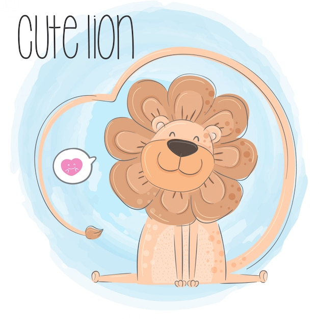 かわいいライオン手描き動物イラスト ベクトル ベクター画像