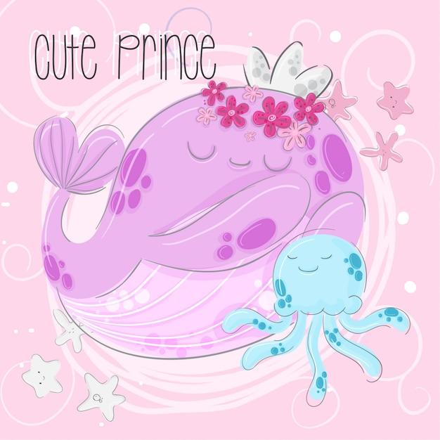 かわいいクジラの王子様の手描きイラスト Premiumベクター