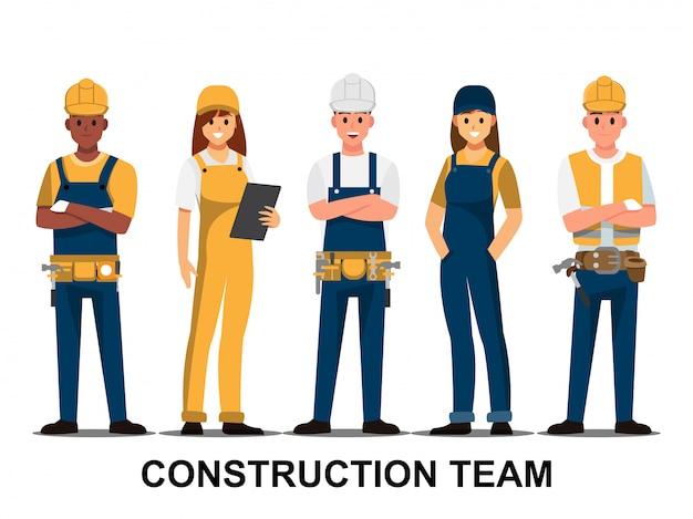 技術者および建築業者そしてエンジニアおよび整備士人々のチームワーク Premiumベクター