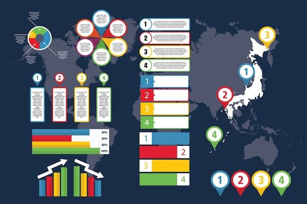 Инфографика японии с картой для бизнеса и презентации Premium векторы