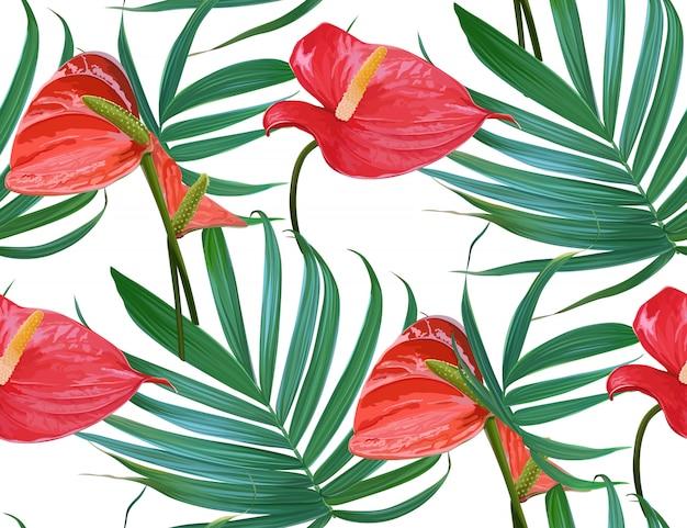 ベクトル熱帯の花とヤシの葉のシームレスなパターン。 Premiumベクター