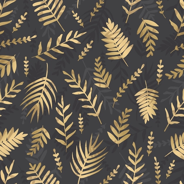 暗い背景にベクトルゴールドを残します。熱帯の葉のシームレスなパターン。 Premiumベクター