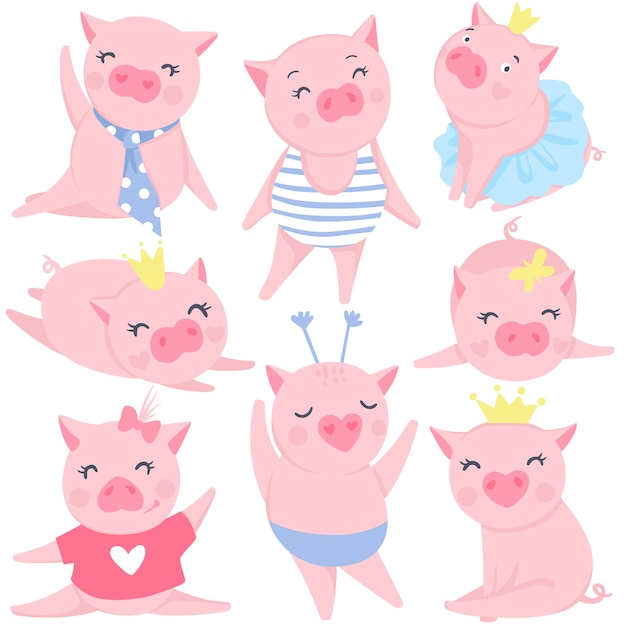 Набор милых розовых свиней Premium векторы
