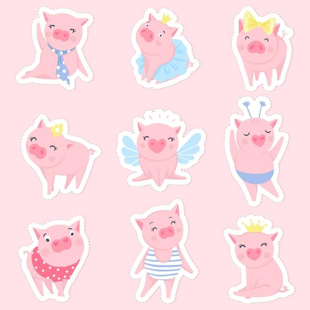 かわいいピンクのブタセット Premiumベクター