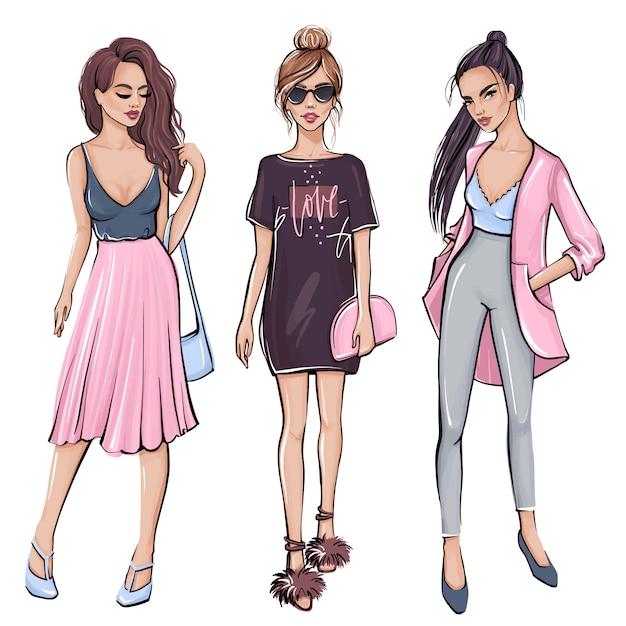 Стильная девушка в модной одежды. ручной обращается красивая девушка. Premium векторы
