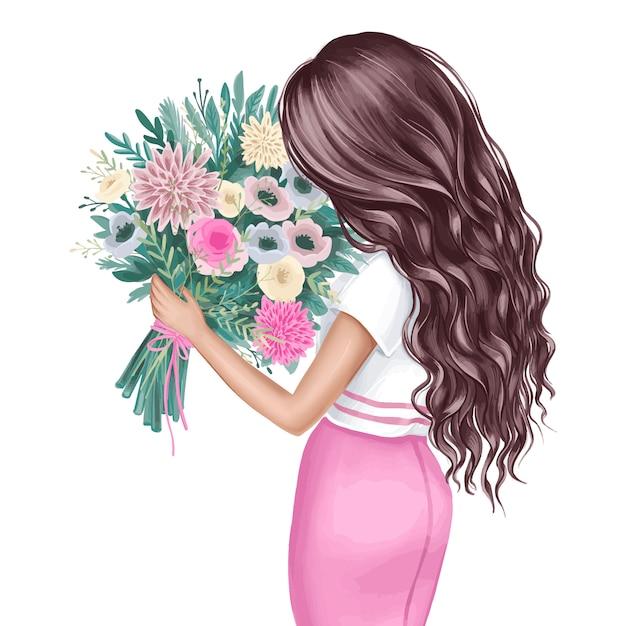 花の花束と美しいブルネット。ファッションイラスト。 Premiumベクター