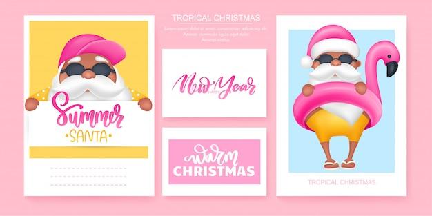 夏のサンタのグリーティングカード。ベクトルイラスト。暖かい気候デザインの熱帯のクリスマスと新年あけましておめでとうございます。 Premiumベクター