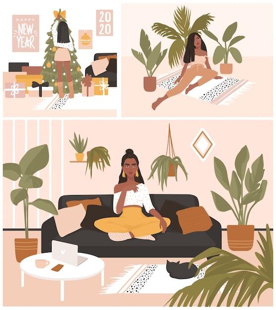 Открытки с красивыми девушками сидят и отдыхают на диване, украшая елку. Premium векторы