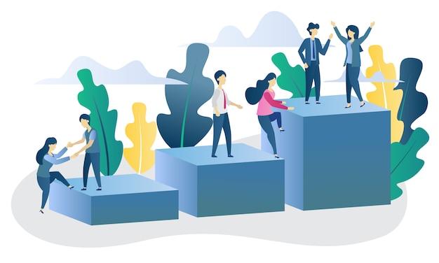 Бизнес-концепция достижения плоской иллюстрации Premium векторы