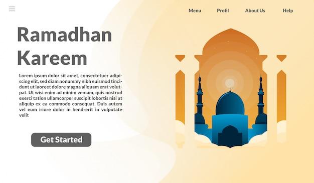 Целевая страница рамадхан карим Premium векторы