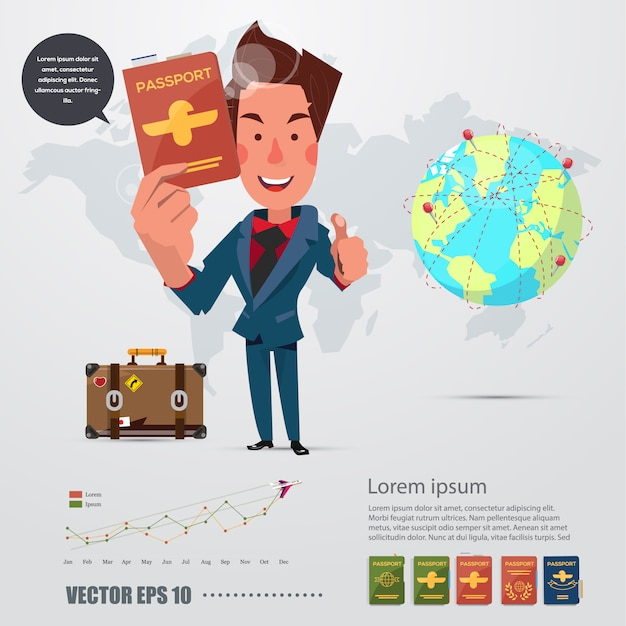 彼のパスポートを持つ男キャラクター。インフォグラフィックアイコン。 Premiumベクター