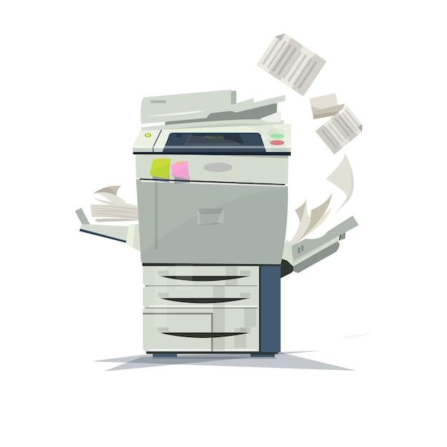 働くコピー機プリンター。 Premiumベクター