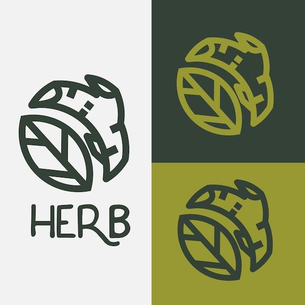 ハーブのロゴ。葉とハーブの木の枝-ベクトル Premiumベクター