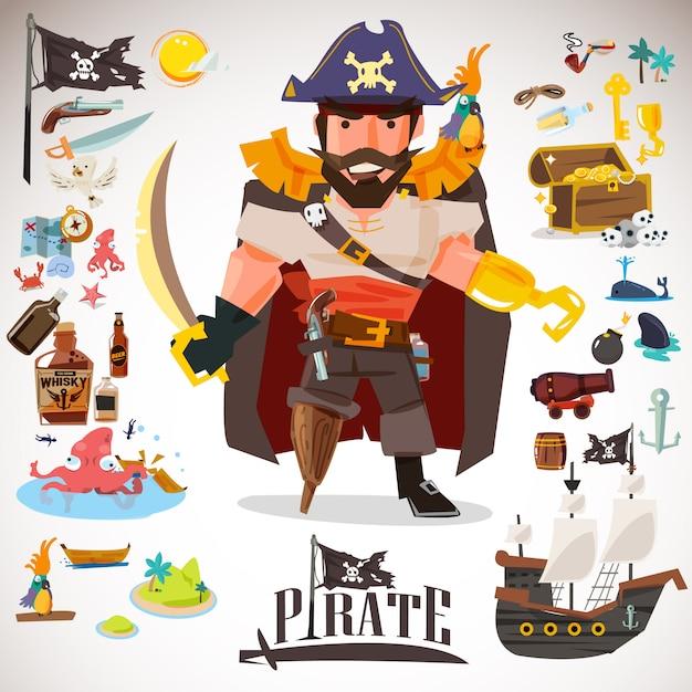 アイコンの要素を持つ海賊キャラクターデザイン。 Premiumベクター