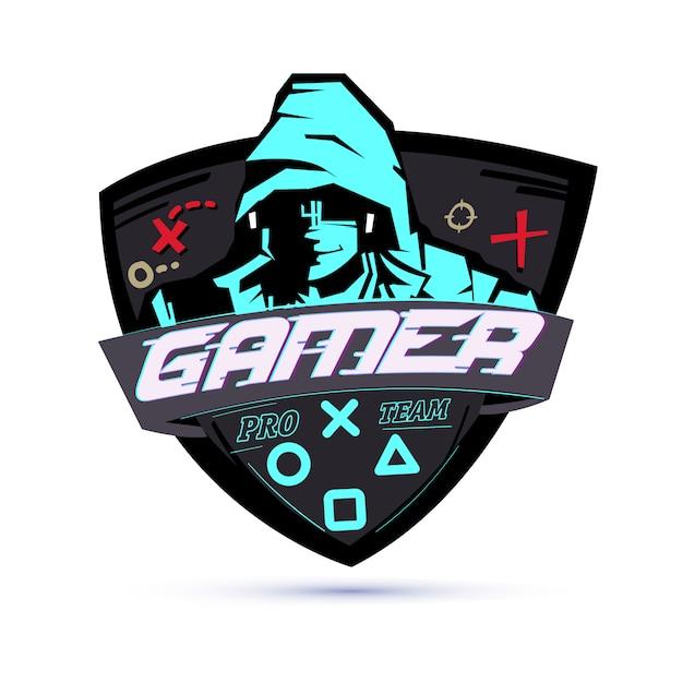 Логотип геймера или концепция хакера Premium векторы
