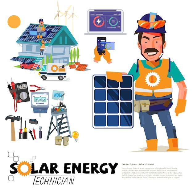 ソーラーエンジニアリングの職業 Premiumベクター