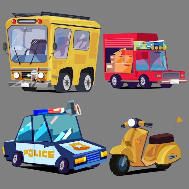車両セットバス、トラック、パトカー、スクーター - ベクトル Premiumベクター