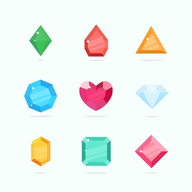 漫画のベクトルの宝石やダイヤモンドの異なる色でフラットスタイルに設定 Premiumベクター