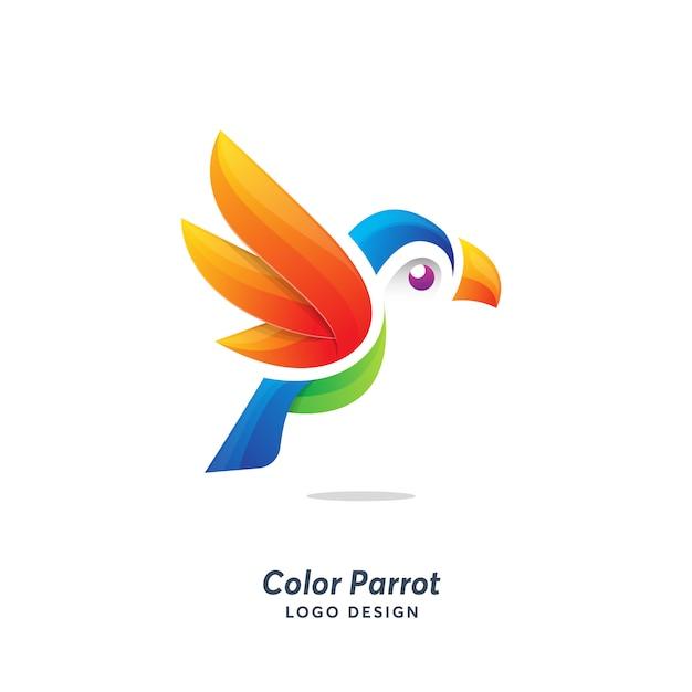カラーオウムのロゴのテンプレートモダン Premiumベクター