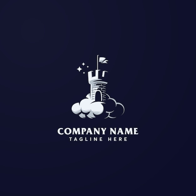 夢の城のロゴのテンプレート Premiumベクター