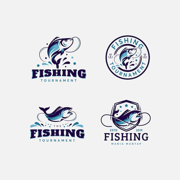 プレミアムバンドルの魚と釣りのロゴデザインテンプレート Premiumベクター