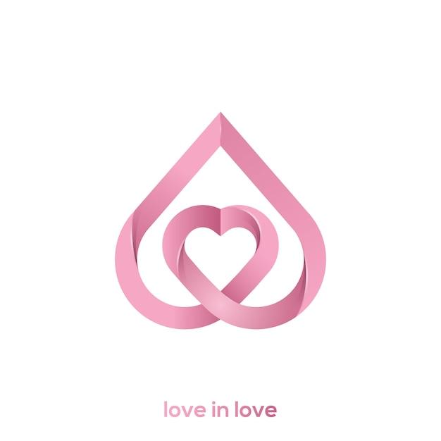 恋の愛のロゴのイラスト Premiumベクター
