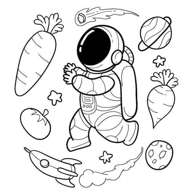 野菜の宇宙飛行士は面白い手描きです Premiumベクター