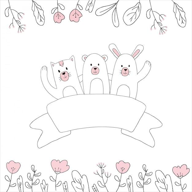 かわいい動物の手描き Premiumベクター
