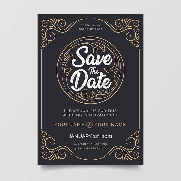 素晴らしい装飾フレームでの結婚式の招待状 Premiumベクター