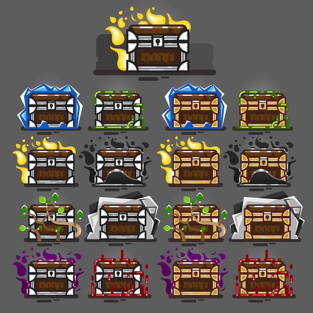 Сундуки, закрытые магией для видеоигр Premium векторы