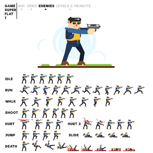 Анимация парня для создания видеоигры Premium векторы