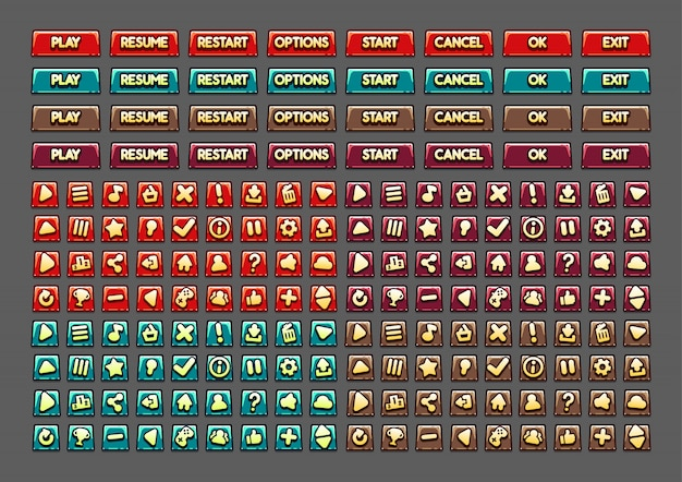 Мультипликационные кнопки для создания видеоигр Premium векторы