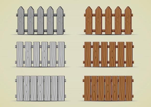 木製フェンス Premiumベクター