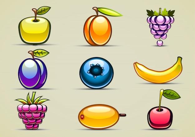 Набор из девяти фруктов Premium векторы