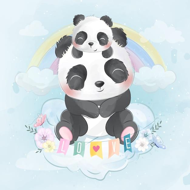 Милая панда с пандой сидит в облаке Premium векторы
