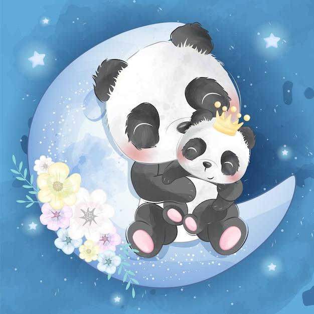 かわいいパンダの母親と赤ちゃん Premiumベクター